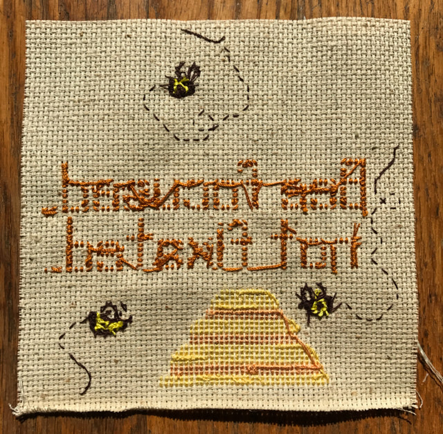 bee + yoga cross stitch