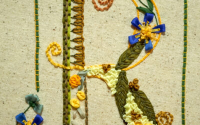 Ribbon Embroidery: the letter R