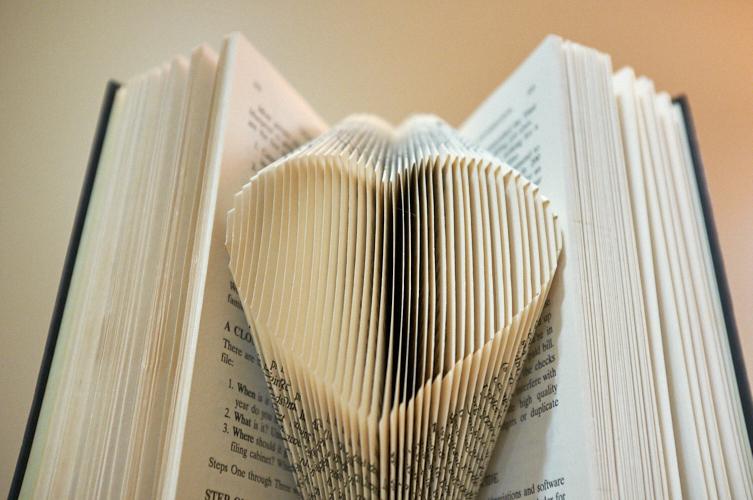 Book folding: heart