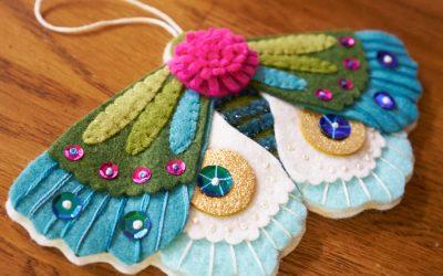 Blue Moth Ornament